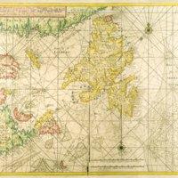 Carte nouvelle contenant la partie d'Amerique la plus septentrionale, ou sont exactement decrits les provinces comme le Canada ou Nouvelle France, la Nouvelle Ecosse, l'Accadia et isle et banc de Terre-Neuve avec les profondeurs le long des côtes et sur les bancs
